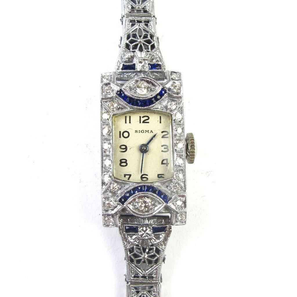 Art deco 18k white gold diamond sapphire ladies watch