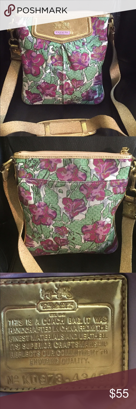 """Coach Poppy Small Crossbody Pink Green Gold Coach Poppy Small Canvas Crossbody Shoulder Bag Pink/Green/Gold Top Zip Closure Back Slip Pocket. Lavender Lining, #43498. L 7,75"""", D 1"""", H 8.5"""" Strap Drop 23"""". Excellent Preowned Condition! Coach Bags Crossbody Bags"""