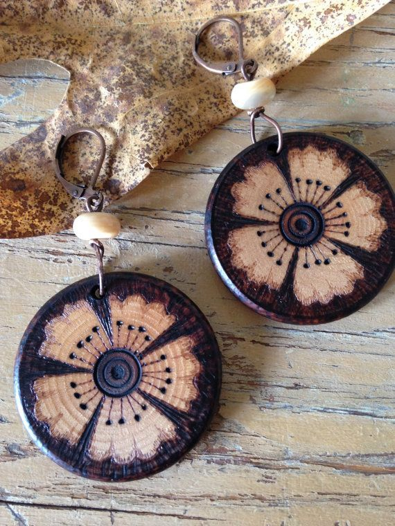 Flower earrings,wooden jewelry, wearable art,pyrography,wood burned,flora,botanical,nature,wooden,magic,garden,earth,flower,gardener,fashion #wearableart