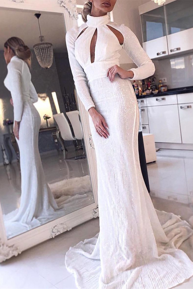 Mermaid high neck long sleeves white sequined prom dress with