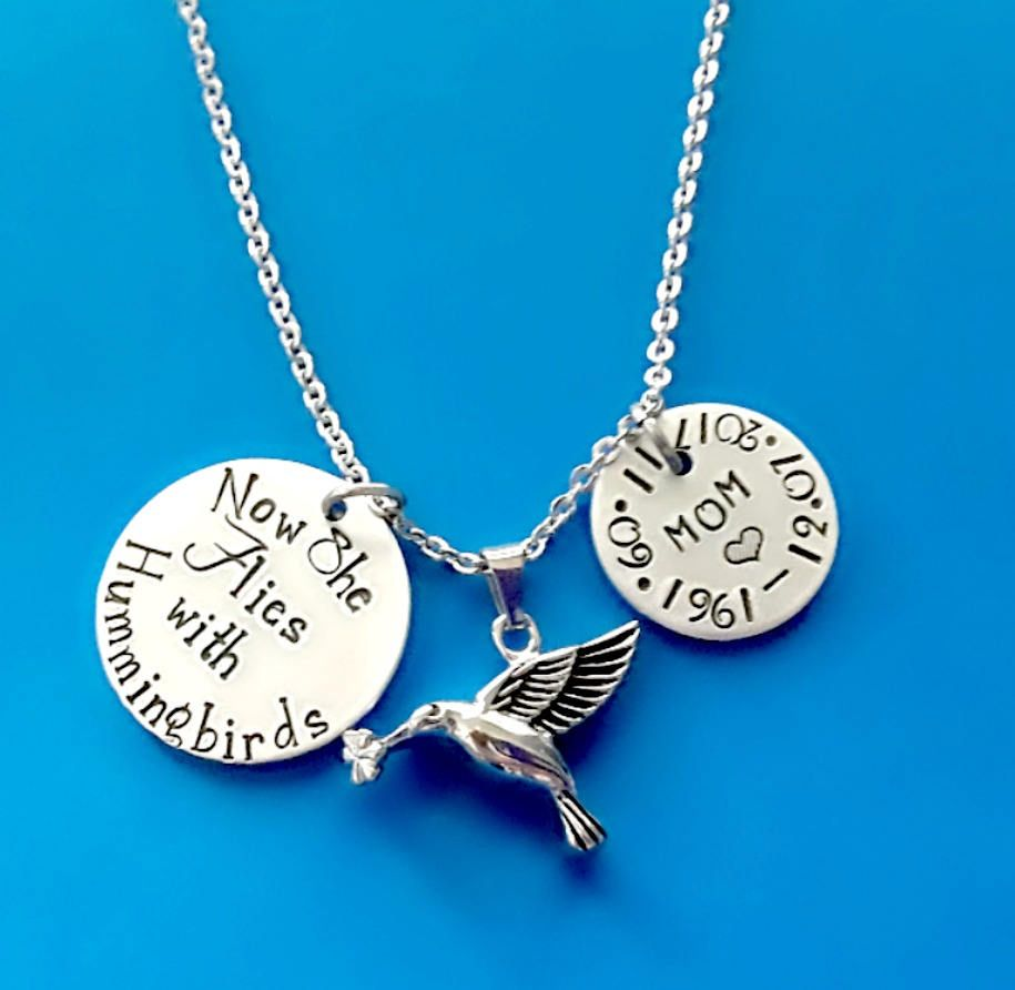 Now She Flies with Hummingbirds Memorial Necklace