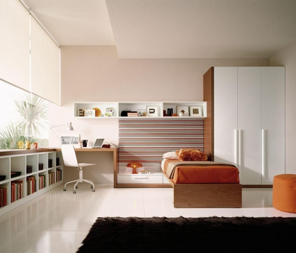 Elegant kids bedroom design with wooden study table corner Study table facing window