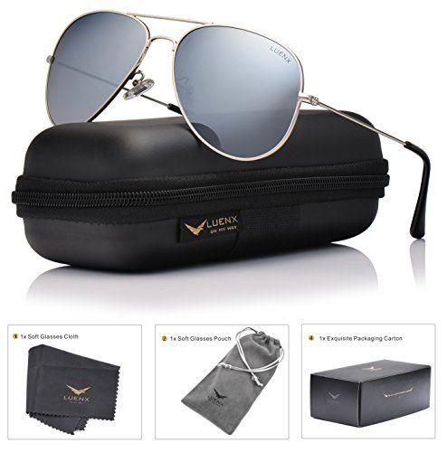 688f8ac85c5 Women s Styles Sunglasses LUENX Mens Aviator Sunglasses Polarized Silver  Mirrored Lens.