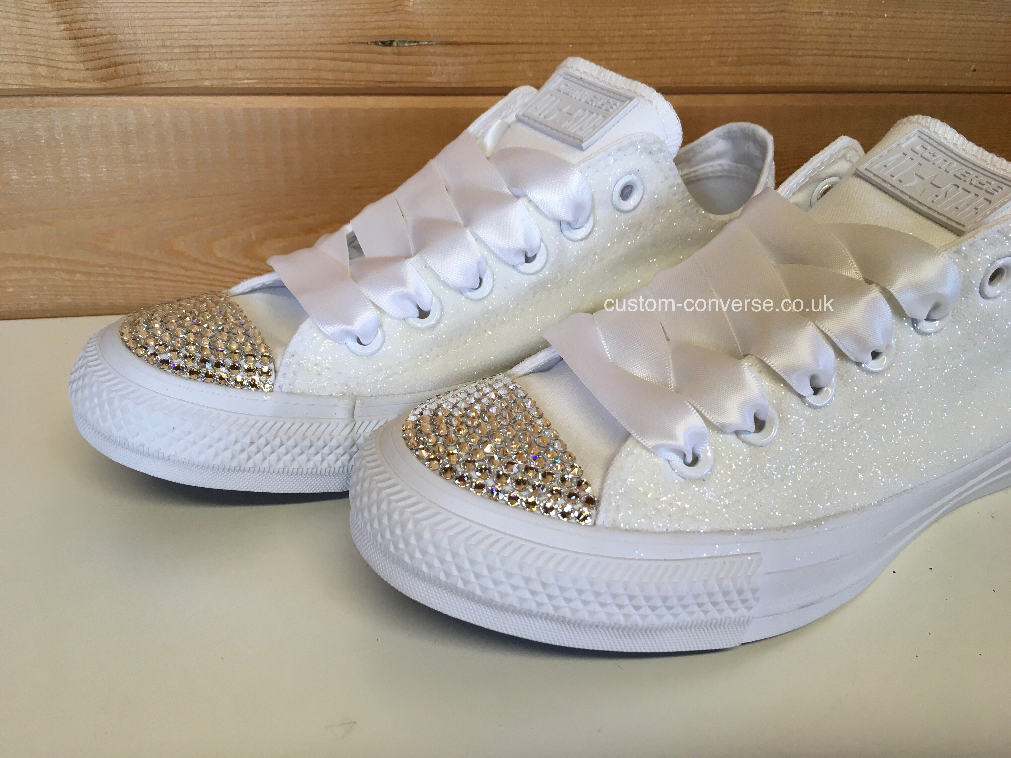 Glitter Low Tops | Ribbon shoe laces, Lace converse shoes