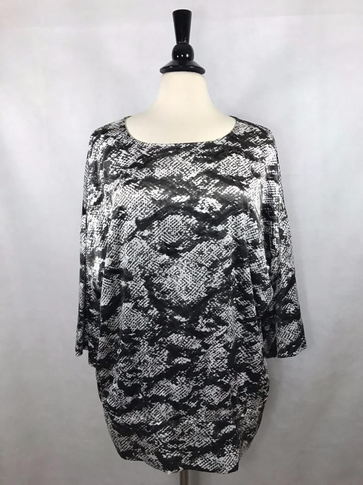 Chico's Size 2 = 12/14 3/4 Sleeve Womens Reptile Print Top Blouse Gray Ecru EUC #Chicos #Blouse #Career