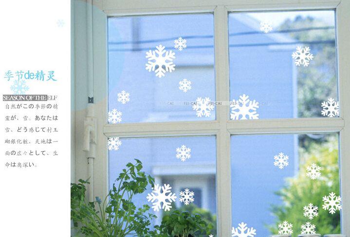 Azul branco plástico floco de neve folha ornamento feliz parede etiqueta da janela de corte de papel de presente # M081 em Decoração de natal de Casa & jardim no AliExpress.com | Alibaba Group