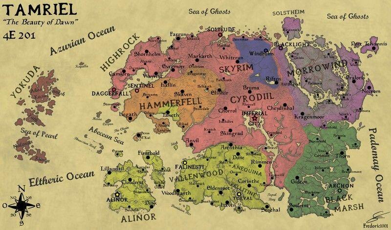 Tamriel Map 2018   Elder Scrolls   Elder scrolls 6, Map, Elder ...