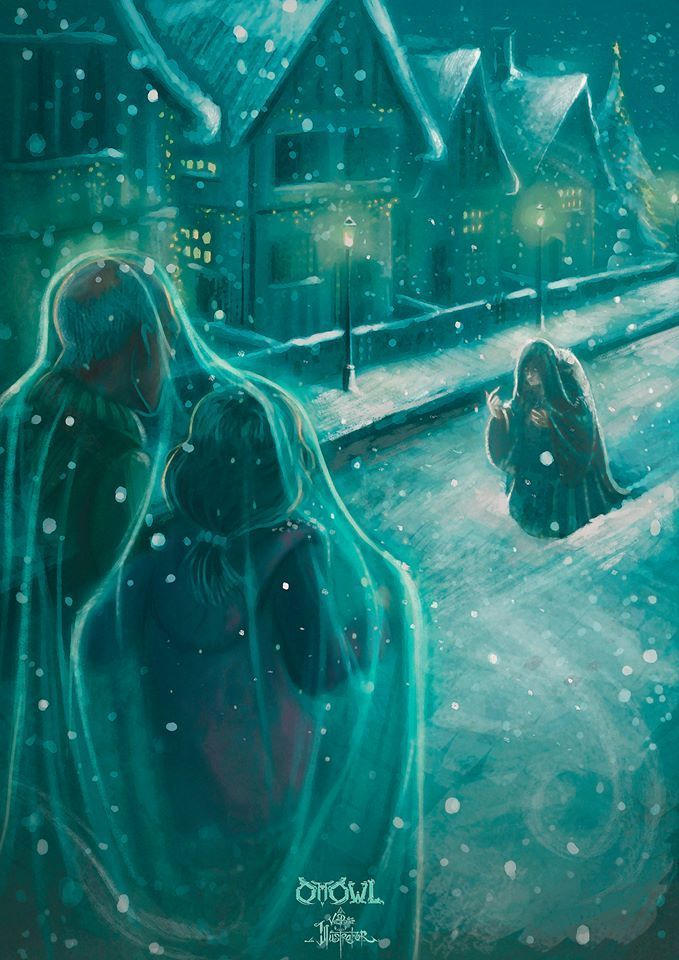 Harry Hermione In Godric S Hollow Cloak And Polyjuice Harry Potter Illustrations Harry Potter Artwork Harry Potter Art