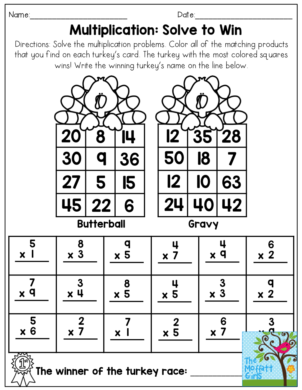 Multiplication: Solve to Win! See which turkey wins the race by ...