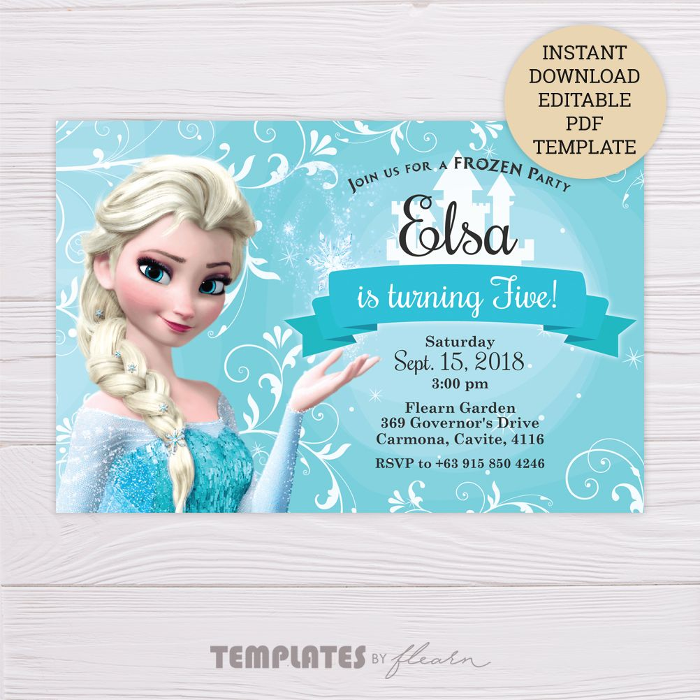 photograph about Free Printable Frozen Invitation Template titled Totally free Frozen Elsa Invitation Template playing cards Frozen