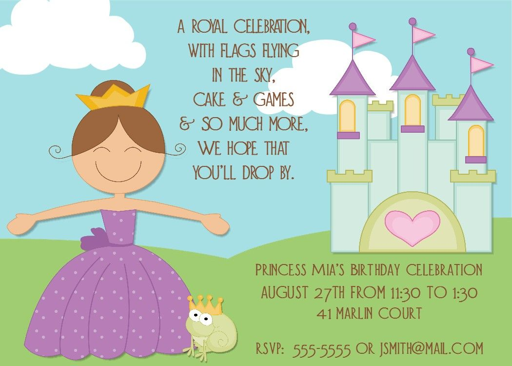 Princess Birthday Party Invitations Wording | Birthday party ...