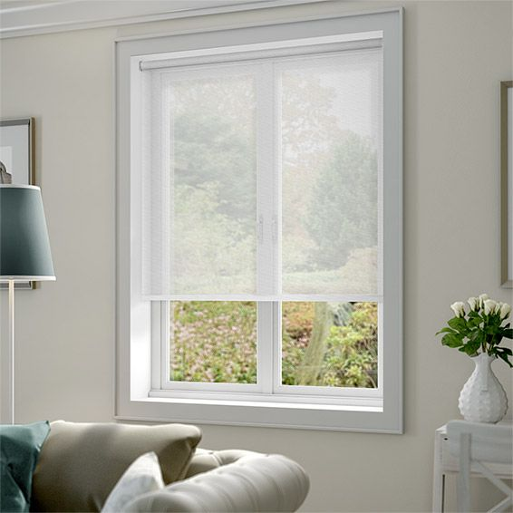 White Kitchen Roller Blinds: Serenity Cloud White Voile Roller Blind