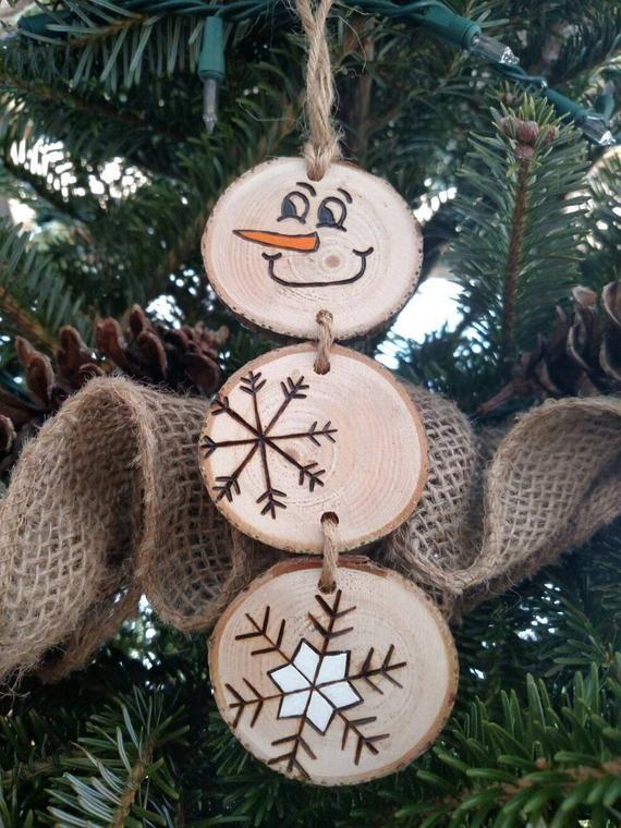 Holz verbrannt Schneemann Weihnachtsschmuck - gestapelt Schneemann Ornamente/Geschenkanhänger