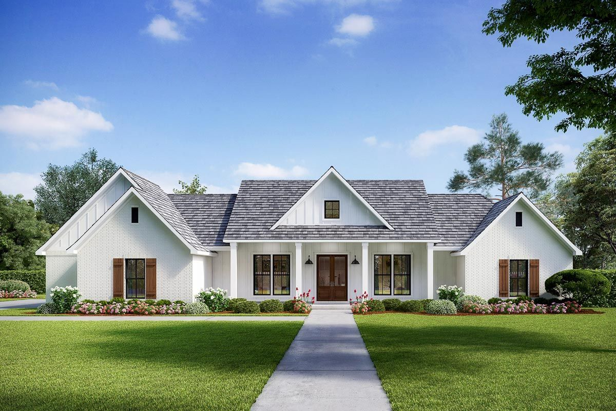 Plan 56443sm Exclusive Modern Farmhouse With Split Beds And Ample