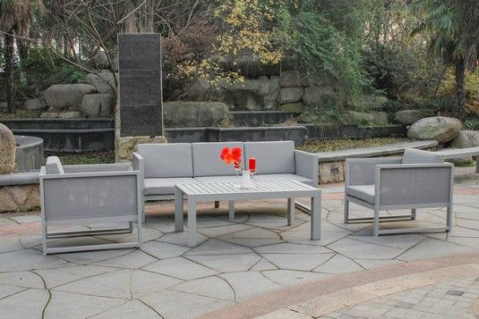 Milano Outdoor Seating Set This Patio Furniture Has A Modern Vibe With Sleek Modern Lines Take Adva Outdoor Seating Set Outdoor Outdoor Furniture Collections