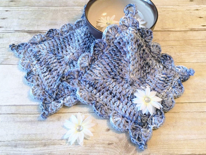 Potholder Set, Cotton Potholder, Crochet Potholder, Denim Blue Potholder, Gift for her, Cotton Crochet, Potholder, Handmade, Ready to Ship by CraftCreationsbyRose on Etsy