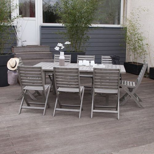 Salon de jardin table et 8 chaises en acacia grisé Silverwood ...