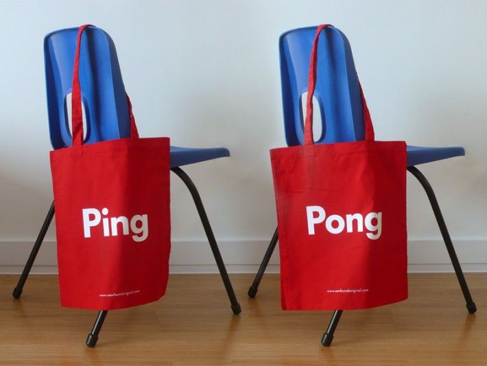Word Play Ping Pong Tote Bag Red 2 Sided Design Which Reads On One Side And The Other Screen Printed In White Onto