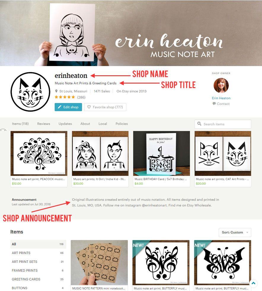 etsy shop seo - shop name - title - shop announcement | business