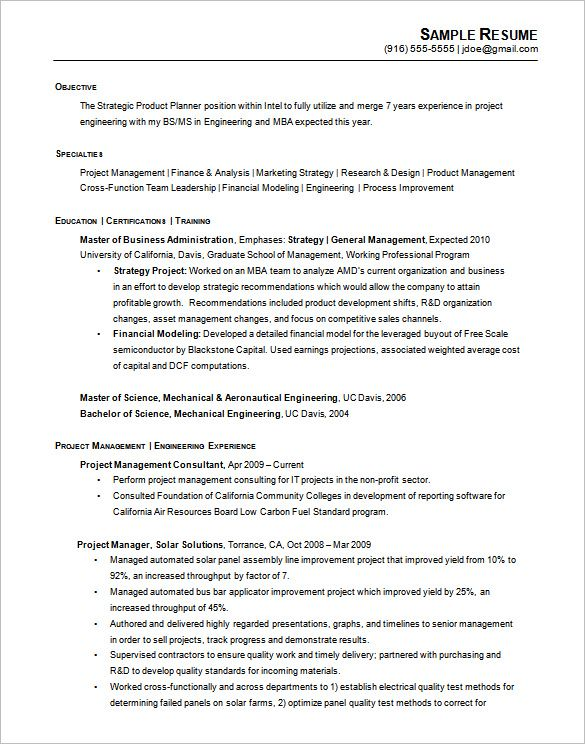 Printable Chronological Resume Example Engineering  A Successful