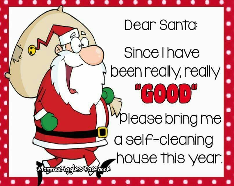 Dear Santa I Have Been Good Please Bring Me A Self Cleaning House Funny Good Night Quotes Christmas Quotes Funny Christmas Quotes For Friends