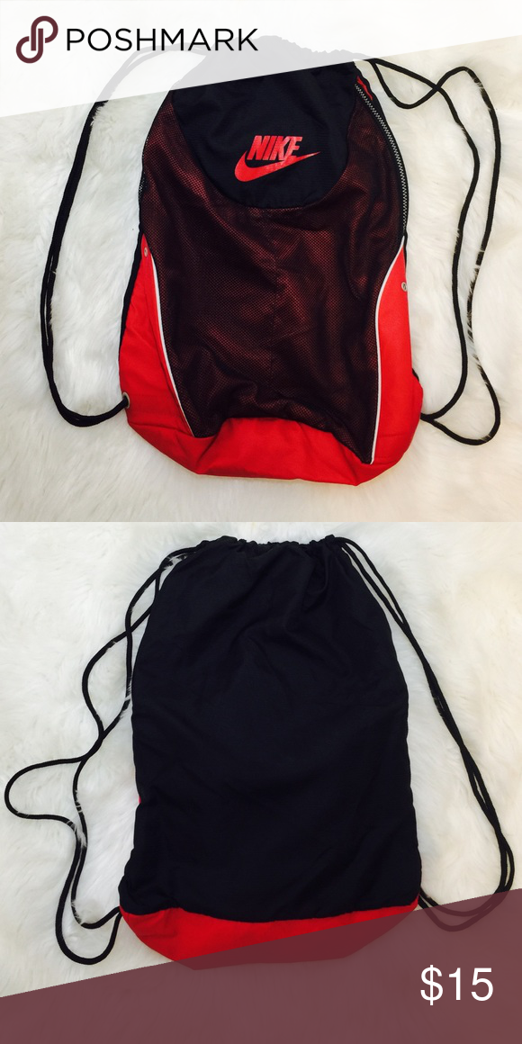 huge selection of f48de de1d7 NIKE Drawstrings Backpack Red Black Preowned in good condition Nike Bags  Backpacks
