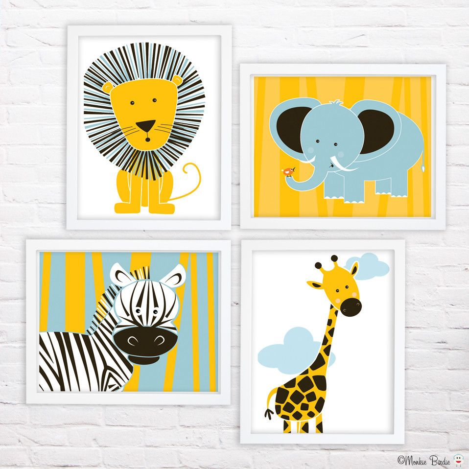 Jungle Animals 2- Nursery Art Print Set of 4 | Nursery art, Nursery ...