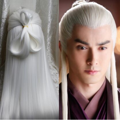 Click To Buy White Vintage Long Hair For Men Ancient Chinese Hair Ancient Man Cospla Long Hair Styles Men Vintage Hairstyles For Long Hair White Hair Men