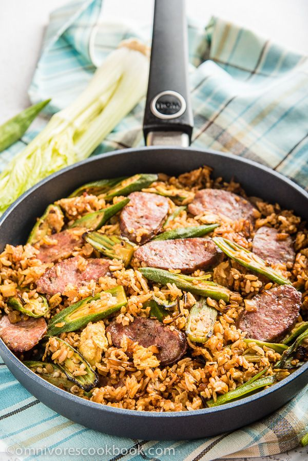 Jambalaya Fried Rice - Use cajun seasonings with smoked sausage and okra to create this fusion rendition of a classic dish in 30 minutes!   omnivorescookbook.com
