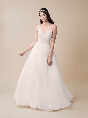 Moonlight Tango T787 Simple Organza Ball Gown Wedding Dress with Pleats