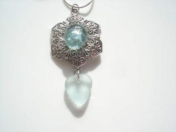 Sea Glass Pendant   Aqua heart seaglass set into by peblsrock, $20.00
