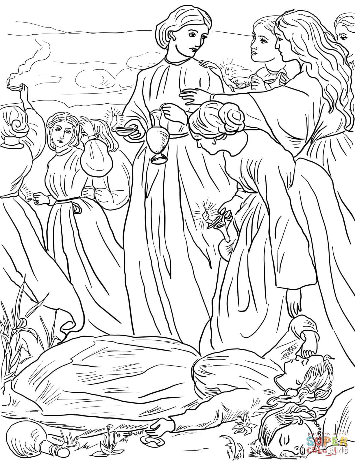 Ten Virgins Parable coloring page from Jesus\' parables category ...