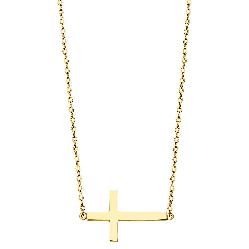 Precious metal without stones 164330 real solid 14k yellow gold precious metal without stones 164330 real solid 14k yellow gold sideways cross pendant necklace 17 mozeypictures Images