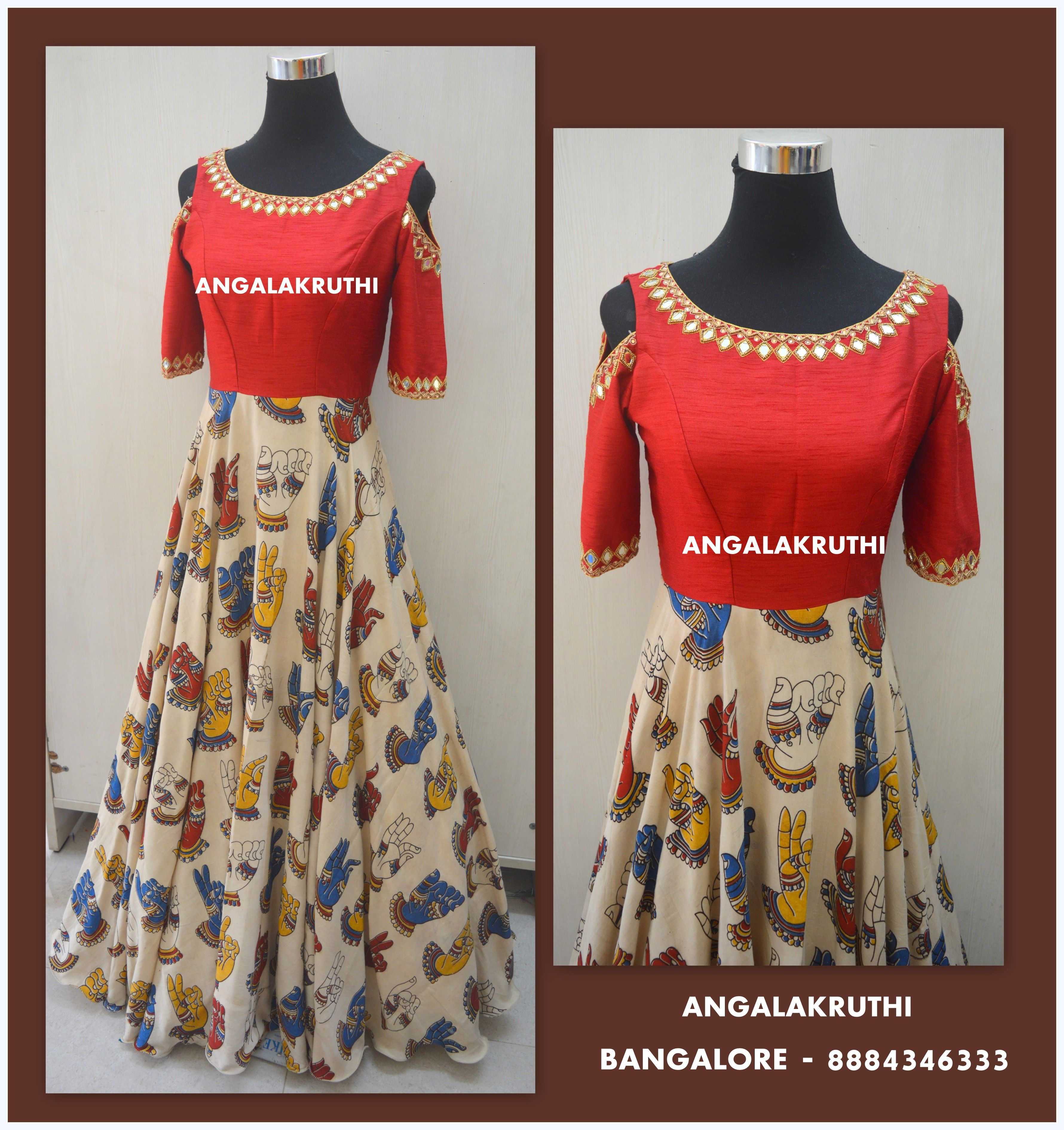 Kalamkari Long Gowns By Angalakruthi Bangalore Boutique Long Gown Customized Designs In Bangalore By Angalakr Indian Party Wear Saree Designs Long Gown Dress
