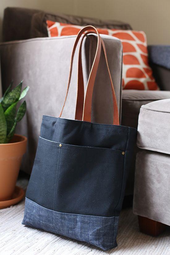 Zip Up Bag Hand Bag Tote Bag Wool Fabric Leather Handles