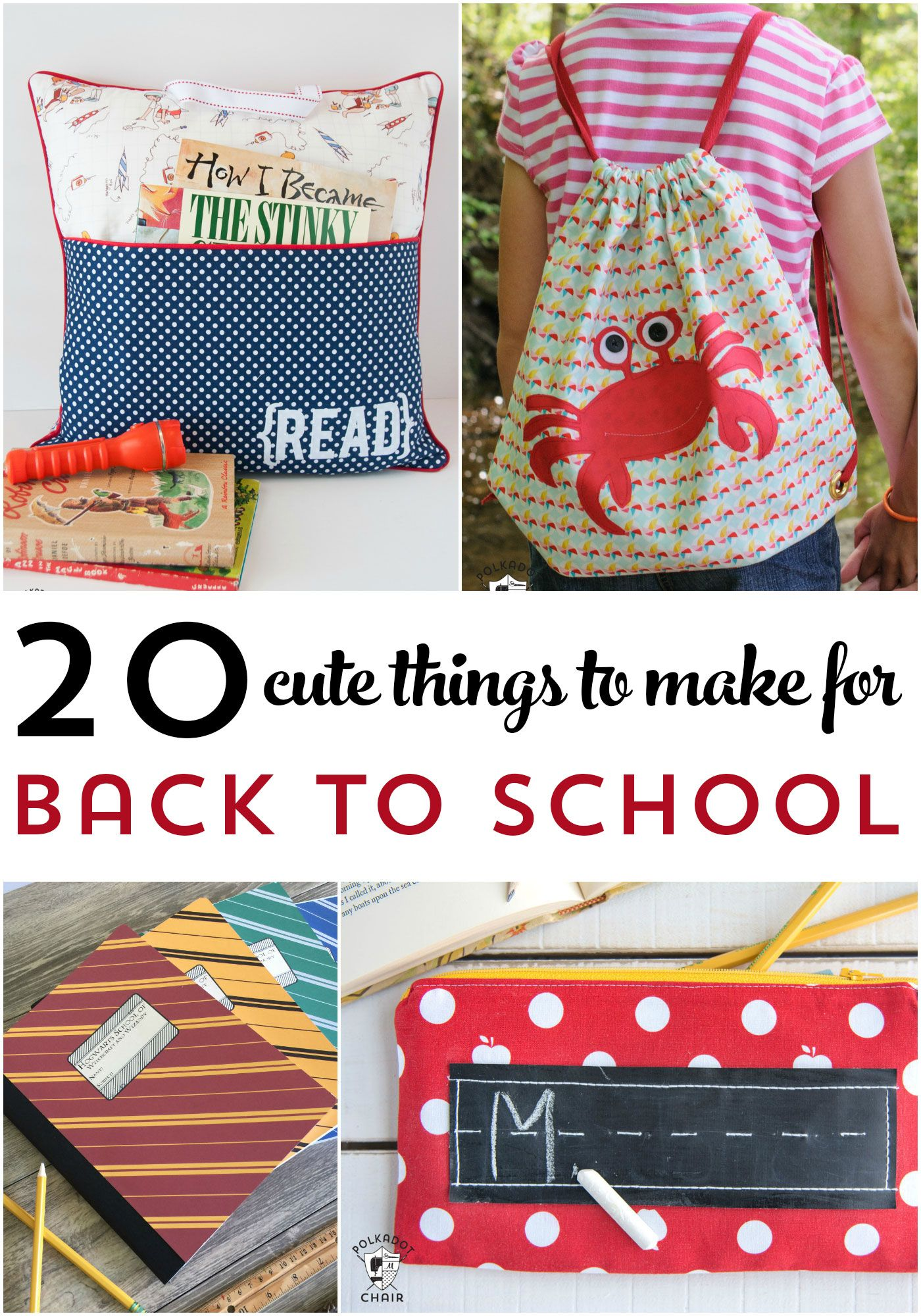 How to's : More than 25 Cute things to make for Back to School - from backpacks to lunch boxes, notebooks and more!