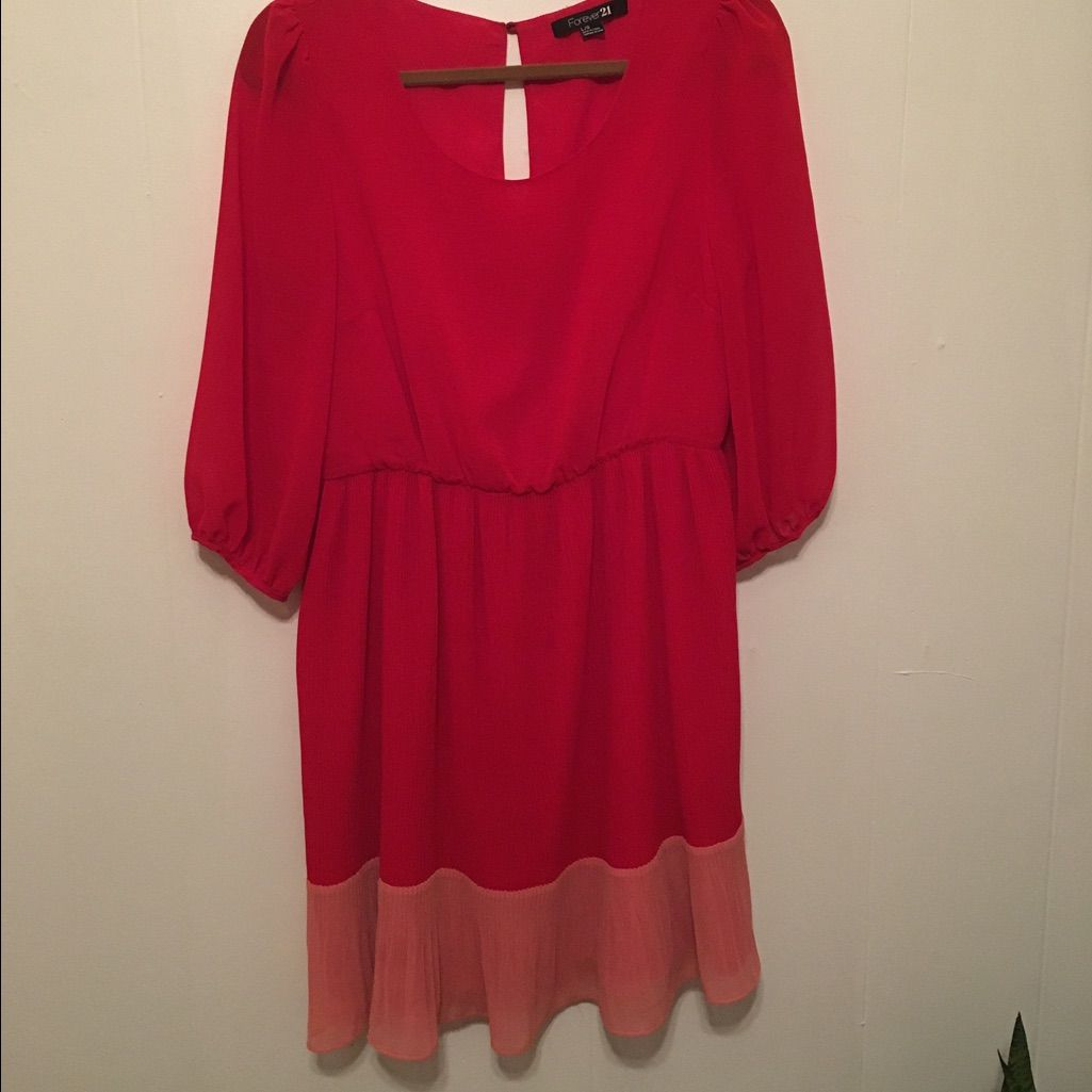 Red and pink long sleeved empire waist dress products pinterest