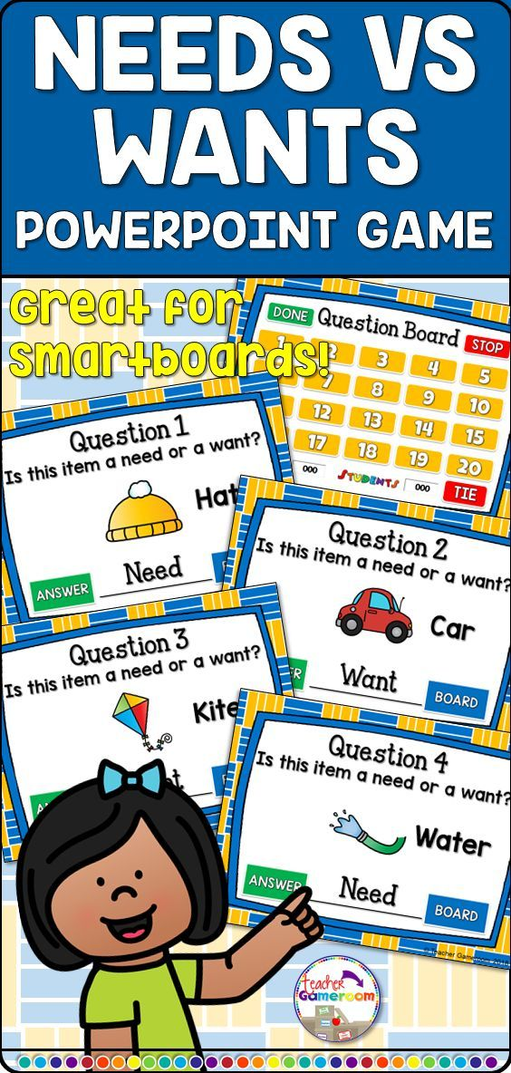 Students determine if objects are a need or a want. 20 questions. Includes animations. Great for first grade social students. #socialstudies #school #education