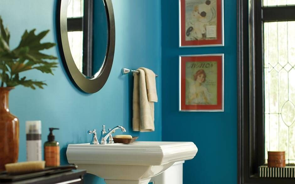 calypso blue looks great in a small bathroom with on interior paint color schemes ideas id=24696