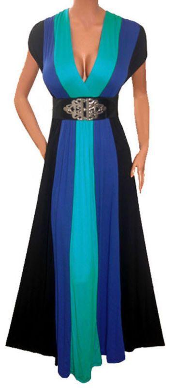 Zb3 Funfash Blue Black Color Block Long Maxi Cocktail Dress Plus