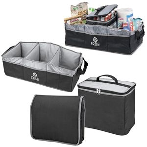 Durable 600D Polyester Collapsible Portable Heavy Duty Multi Compartments Trunk Organizer with Strap