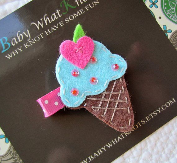 Ice Cream Cone Hair Clip, Baby Hair Clippies, Girl Barrette, Blue Hair Clippie
