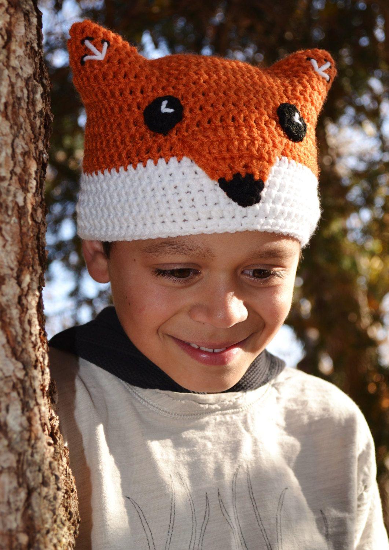 Crochet Fox Hat, Children\'s Crochet Beanie, Ready to Ship | Crochet ...
