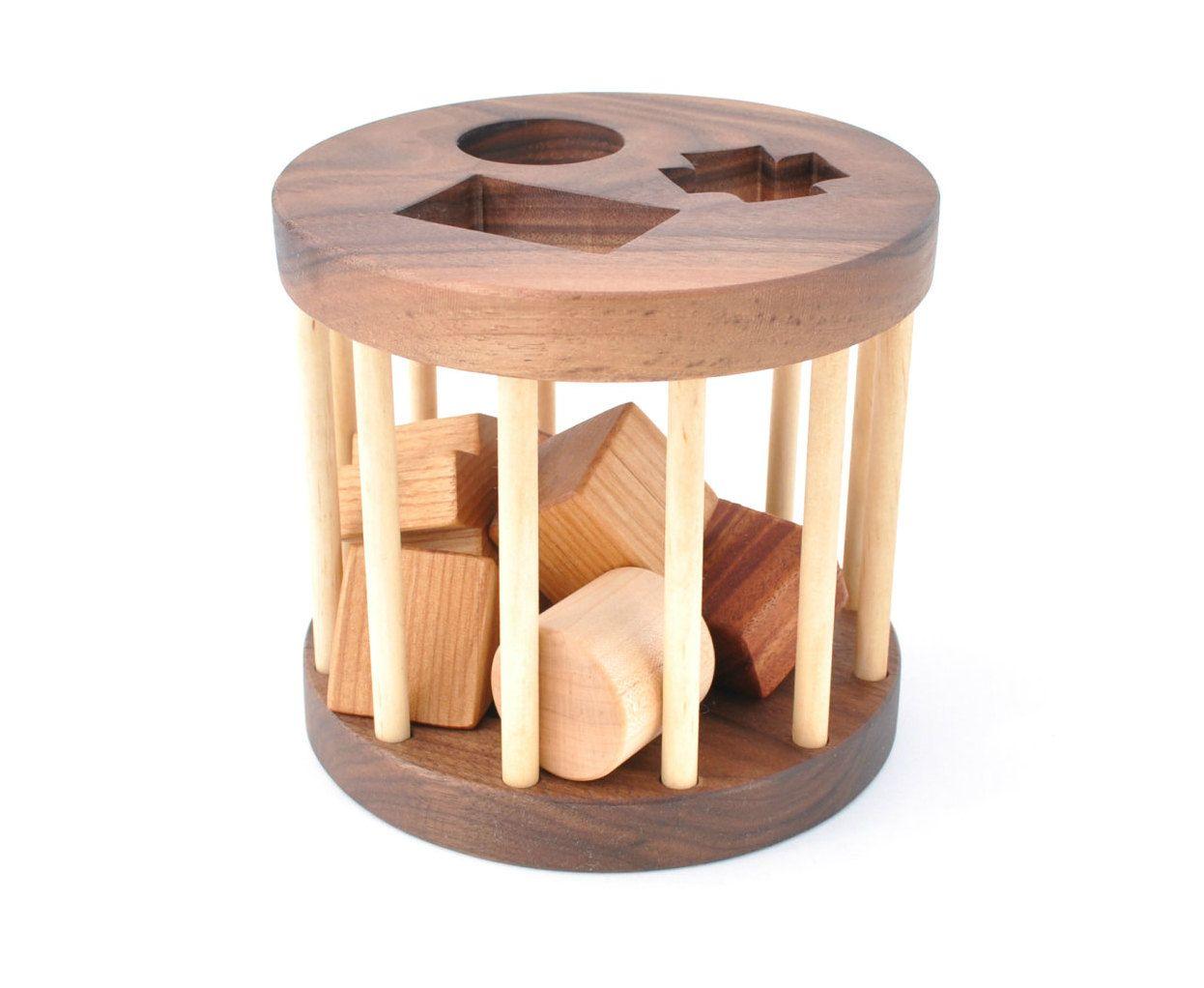 Wooden Shape Sorter Toy - Montessori Inspired Educational ...