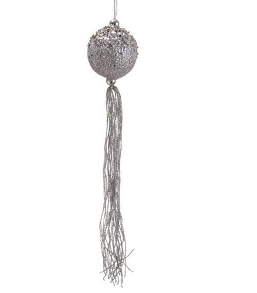 "12"""" Seasons of Elegance Silver Glitter Christmas Ball Ornament with Tassels"