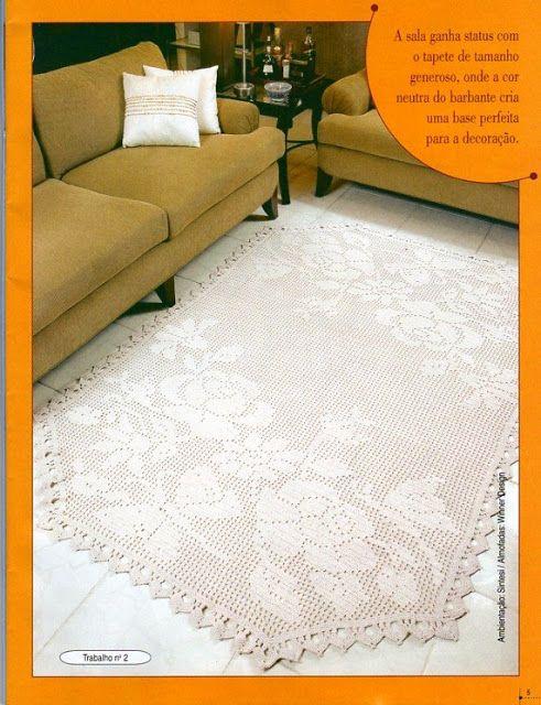 PATRONES GRATIS DE CROCHET: Patrón bella alfombra con flores a ...