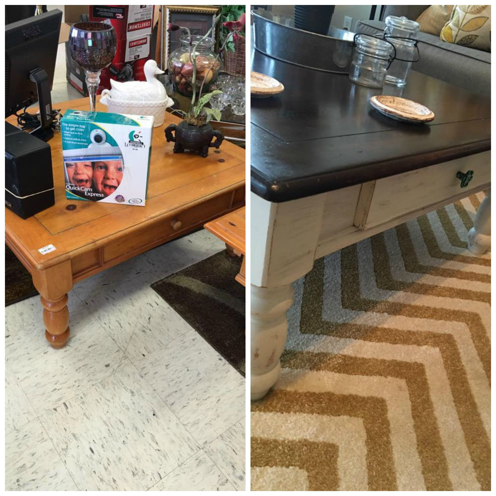 Before and after thrift store coffee table Sanded the whole table
