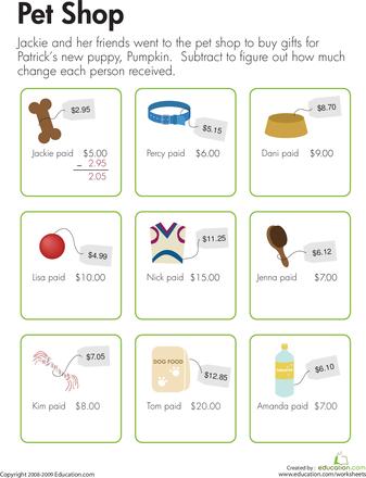 Making Change At The Pet Shop Worksheet Education Com Everyday Math Math Learning Center Third Grade Math Worksheets