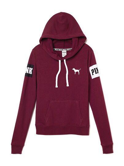 f82cfcb03618b vs pink victoria's secret teenager teen girl outfit top sweatshirt pullover  hoodie burgundy maroon dark red pink drawstrings cute inspiration