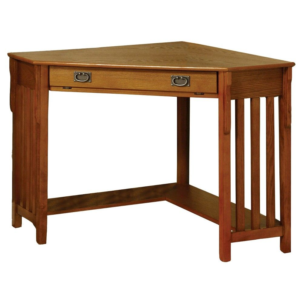 Mezas Mission Style Corner Computer Desk Medium Oak Furniture Of America Brown Corner Writing Desk Oak Finish